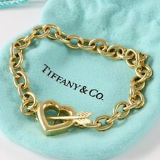 Estate Authentic Tiffany &Co.18k Yellow Gold Arrow & Heart Toggle Clasp Bracelet