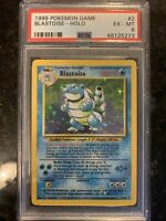1999 Pokemon Game Blastoise 2/102 Base Set Unlimited Holo Rare PSA 6 EX-MINT