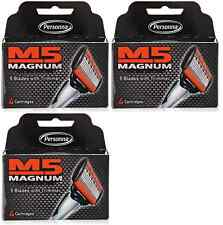 Personna M5 Magnum Razor Refill Blades with Trimmer, 4 Cartridges (3 Pack)