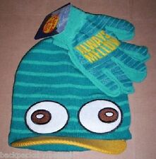 Phineas and Ferb PERRY Beanie Hat and Gloves NeW Disney Platypus Cap Nwt