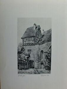 Rothenburg Tauber - Schäferkirche - Original Lithographie - 1924 - signiert