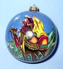 VINTAGE CHRISTMAS BLOWN GLASS PAINTED ON THE INSIDE TREE ORNAMENT IN BOX VGC