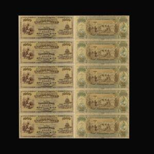 5pcs/lot 24k Banknote Bill Gold Money Dollar Foil Paper Banknotes 1000 Usd