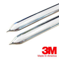 "Vintage Style 7/8"" White & Chrome Side Body Trim Molding - Formed Pointed Ends"