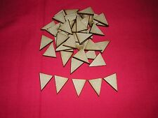 100 x MINI  WOODEN BUNTING TRIANGLES  2 x 2.5 x 2.5cm  LASER CUT MDF