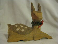 """carved wood reindeer deer fawn w/ small wreath wooden animal carving 7"""" x 5.75"""""""