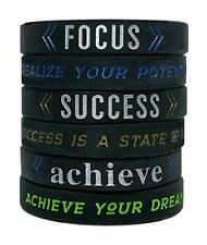 / Achieve / Focus 6pcs Motivational Silicone Wristband Bracelets Success