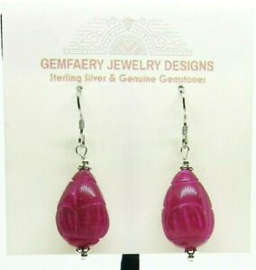 Sterling Silver Carved Natural Ruby Dangle Earrings #5842...Handmade USA