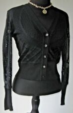 Cache Women's Sweater Cardigan Sexy Sheer Cut Out Black size Small Excellent