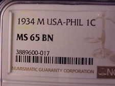 PHILIPPINES ONE CENTAVO 1934-M, NGC MS 65 BN