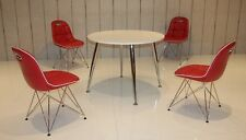 Tischgruppe Anja und PEP 1 Designer Retro Garnitur 60er Jahre 5 teilig Rot Chrom