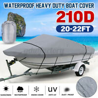 20-22FT Heavy Duty Boat Cover 210D Fishing Ski V-Hull Runabouts Sport Waterproof