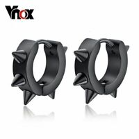 Vnox Cool Rivet Hiphop Small Hoop Earrings Stainless Steel Punk Biker Black Ear