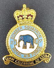 Vintage RAF 27 Bomber Squadron Enamel Pin Badge With Queens Crown, c 1980s