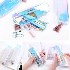 Women Colorful Laser Transparent Pencil Case Cosmetic Bag Makeup Pouch Fashion