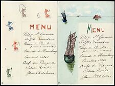 FRANCE c1910 DINNER MENUS PHILATELIC CARTE TIMBRE SOWERS + SPORTS + BOATS