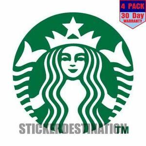 Starbucks Coffee 4 pack 4x4 Inch Sticker Decal
