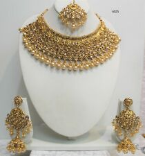 New Big Indian Pakistani Jewellery Gold polished Necklace Earrings Set pearls