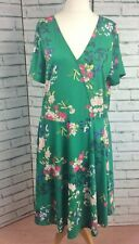 Capsule Simply Be Green Floral Fit n Flare Summer Dress Size 18 NEW