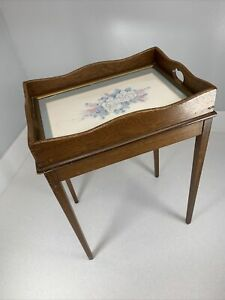 """Farmhouse End Table w/ Glass Top Tray Solid Wood Decor Stand 18"""" X 12"""" X 9"""""""