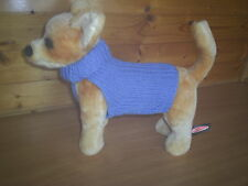 NEW SMALL 8 INCH HAND  KNITTED DOG COAT/JUMPER BLUE CHIHUAHUA / YORKIE TERRIER