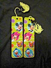 Lot 2 Disney Bookmarks Mickey Minnie Goofy Donald Duck Tassel Antioch rare