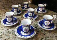 Vieux 'Old' Blue & Gold Demitasse Cup Marked Vieux Paris Crown Maker's Mark