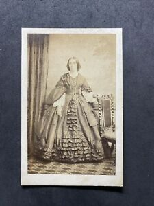 Victorian Carte De Visite CDV: Lady Large Frill Gown: Death: Camberwell
