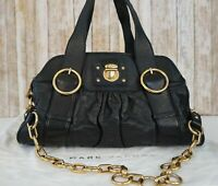 MARC JACOBS Black Leather Goldtone Hardware Chain Shoulder Satchel Bag