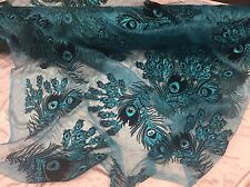 Metallic Peacock Feathers Design Mesh Lace Fabric Turquoise. Sold By The Yard