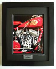 Indian Chief Motorcycle Art Signed Ltd Edition Custom Framed Print w/COA by JG