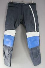 BLUE & WHITE LEATHER RACING/SPORTS BIKER TROUSERS: WAIST 38 IN/INSIDE LEG 31 IN