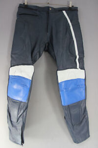 BLUE & WHITE LEATHER RACING/SPORTS BIKER TROUSERS: WAIST 38 IN/INSIDE LEG 31 IN