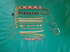 Lot of 20PC Goldtone Bracelets Rhinestone Enamel & More Many Styles