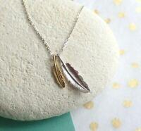 Sterling Silver Double Leaf Leaves Pendant Gold Detail - Necklace - UK Seller