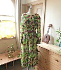 🌺🌸🌻 New Gorman x Rebekah Callahan Organic Cotton Green Smock Dress size 14 L