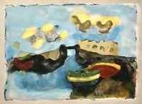 """Christian Kruck (1925-1985) signierte Farblithographie """"Brücke auf Lanzarote"""""""