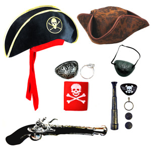 Pirate Costume Set: Eye Patch Pistol Telescope Book Day Accessories Outfit Party
