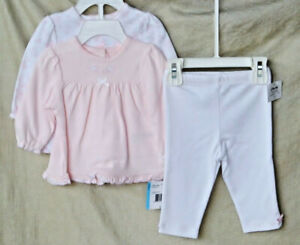 LITTLE ME 100% Cotton Wht & Pk SWEET LOVEBIRDS 3 pc TUNIC & LEGGING Set 6 MO NWT