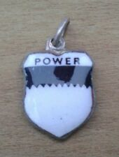 Power Coat of Arms / Family Crest Silver Plated Enamel Charm