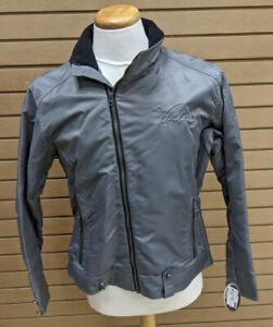 NEW Victory Motorcycle Jacket Grey Red Nylon MEDIUM Front & Back Logo $120