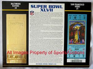 SUPER BOWL 47  BALTIMORE RAVENS / 49ERS Willabee & Ward 22KT GOLD TICKET ~ XLVII