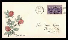 1940 VERMONT STATE FLOWER RED CLOVER HANDCOLORED CACHET MONTPELIER VT
