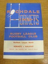 20/03/1970 liga de rugby programa: Rochdale Hornets V Halifax (puntuación Bo en el interior).