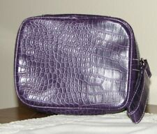 New Purple Clinique Bag/Train Case w/wristlet strap, zips on 3 sides