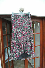 Laura Ashley calf-length asymmetric floral georgette skirt - size 14 - pretty!