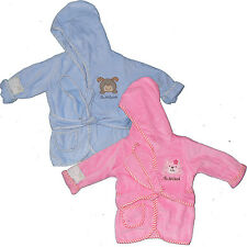 Baby, Kinder Bademantel 74-80, 86-92, 98-104, Kapuze, Baumwolle, bestickt weiss