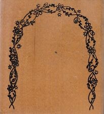 "flower arc frame unbranded Wood Mounted Rubber Stamp  3 1/2 x 3""  Free Shipping"