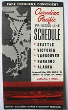 1960 CANADIAN PACIFIC CP PRINCESS LINE SCHEDULE Steamship Seattle Alaska Canada