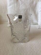 Signed RIEDEL Tyrol Crystal Water Pitcher/Jug w Raised Grapes Leaves...Austria